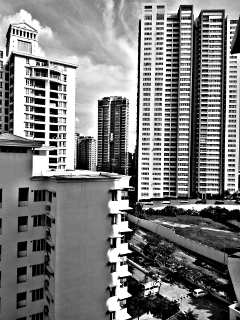 black & white building