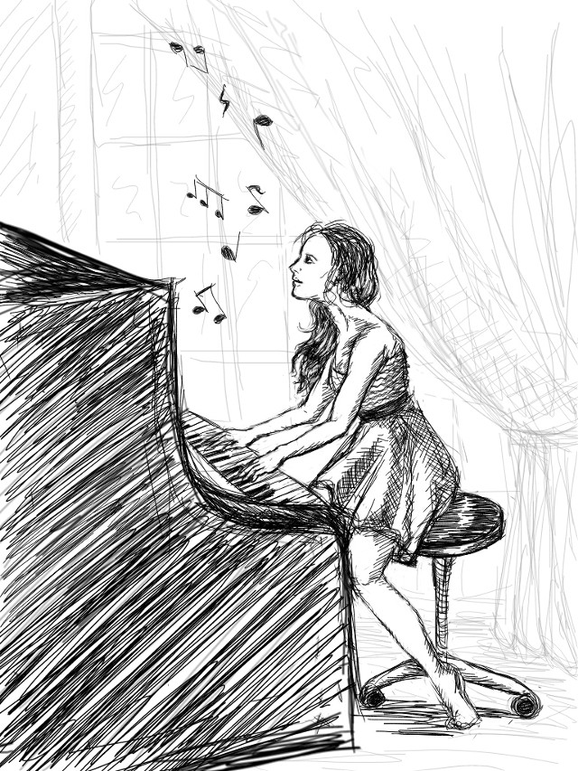 Just music... (my entry for the #dcpencilsketch)
