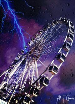 edit atmosphere sky lightning fairground