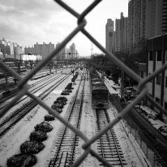korea black & white snow photography train